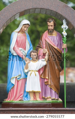 Statues of the Holy Family of Jesus. - stock photo