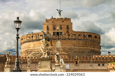 Statues on the bridge of Castel Sant'Angelo in Rome, Italy  - stock photo