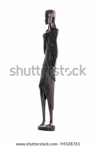 Statuette of a woman the masai tribe curved from ebony, Tanzania - stock photo