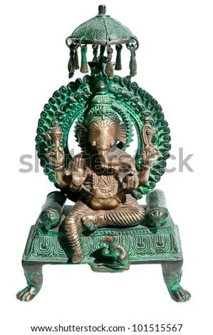 Statuette of hindu God Ganesha isolated on white - stock photo