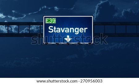 Stavanger Norway Highway Road Sign at Night 3D artwork - stock photo