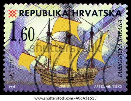 STAVROPOL, RUSSIA - APRIL 05, 2016: a stamp printed by Croatia, shows  old Sailing ship  Karakka Zrinsk ,  circa 1998 . - stock photo