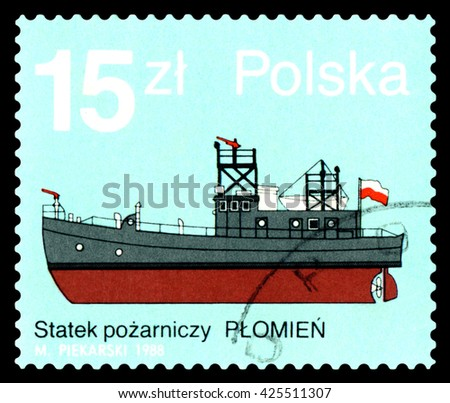 STAVROPOL, RUSSIA - APRIL 28, 2016: a stamp printed by Poland, shows fire boat Plomien ,  circa 1988. - stock photo