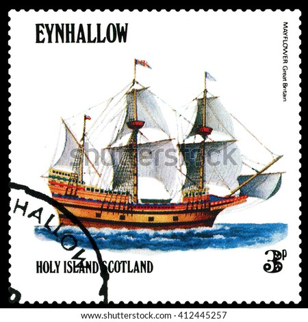 STAVROPOL, RUSSIA - APRIL 09, 2016: a stamp printed by Scotland, shows  old Sailing ship Mayflower Great Bitain,  circa 1984 . - stock photo