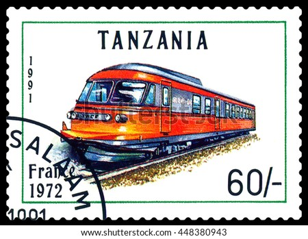 STAVROPOL, RUSSIA - APRIL 03, 2016: A Stamp printed in Tanzania shows  old locomotive,  France 1972,  circa 1991 - stock photo