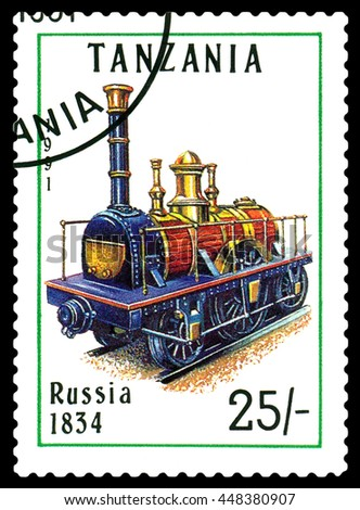 STAVROPOL, RUSSIA - APRIL 03, 2016: A Stamp printed in Tanzania shows  old locomotive,   Russia 1834.,  circa 1991 - stock photo