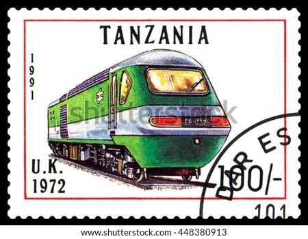 STAVROPOL, RUSSIA - APRIL 03, 2016: A Stamp printed in Tanzania shows  old locomotive,  U.K. 1972,  circa 1991 - stock photo
