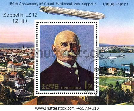 STAVROPOL, RUSSIA - JULY 19, 2016:  a stamp printed in  DPR Korea  shows  Airship LZ-12 (Z III), portrait  Ferdinand Von Zeppelin, series, cirka 1988 - stock photo