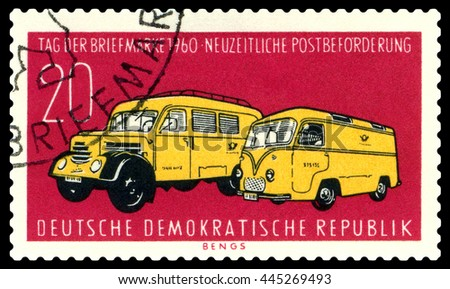 STAVROPOL, RUSSIA - JUNE 24, 2016: a stamp printed by  Germany ,  shows  Modern Postal Trucks,  circa 1960 - stock photo