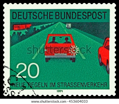 STAVROPOL, RUSSIA - JUNE 24, 2016: a stamp printed by  Germany ,  shows  Traffic on the roads,  circa 1971 - stock photo