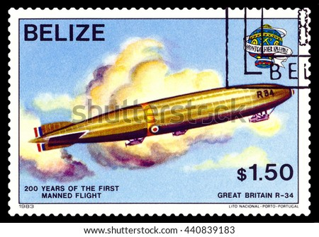 STAVROPOL, RUSSIA - JUNE 20, 2016: a stamp printed in Belize, shows an  Dirigible Great Britain R-34, 200 years of manned flight, cirka 1983 - stock photo