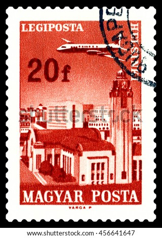 STAVROPOL, RUSSIA - June 28, 2016:  A stamp printed in  Hungary shows  plane flying over  Helsinki, circa 1966 - stock photo