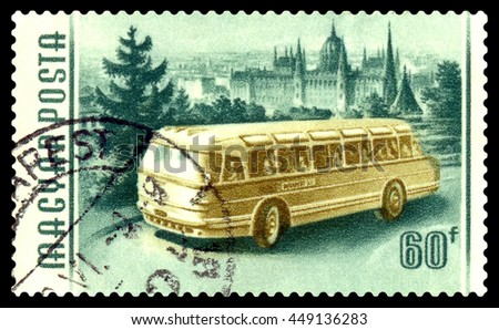STAVROPOL, RUSSIA - MARCH 16, 2016:: A stamp printed in Hungary shows image of a Bus,  circa 1955 - stock photo