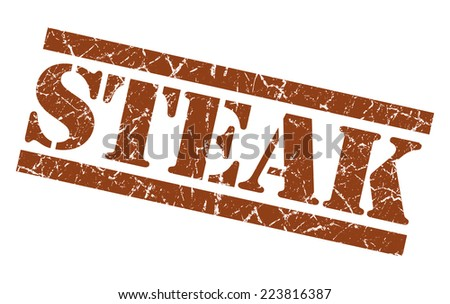 Steak brown square grunge textured isolated stamp - stock photo
