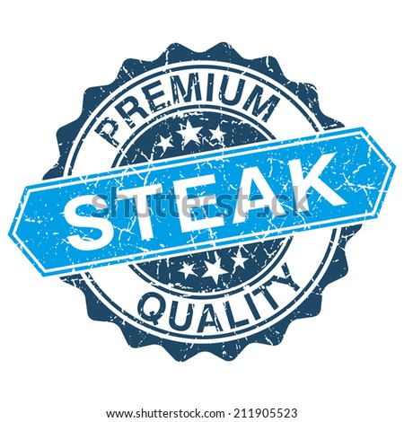Steak grungy stamp isolated on white background - stock photo