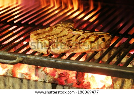 steak in a barbecue - stock photo