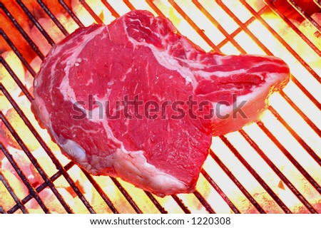 steak on a flaming barbecue charcoal hot grill - stock photo