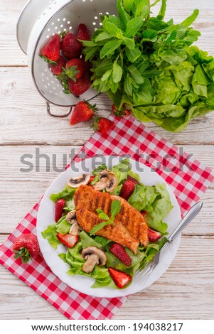 steak with green salad - stock photo
