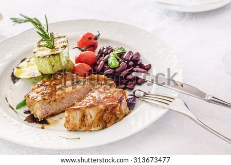 steak with grilled vegetables - stock photo