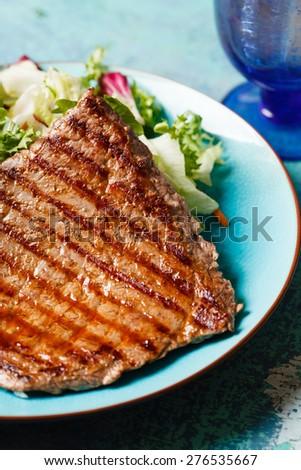 steak with salad - stock photo