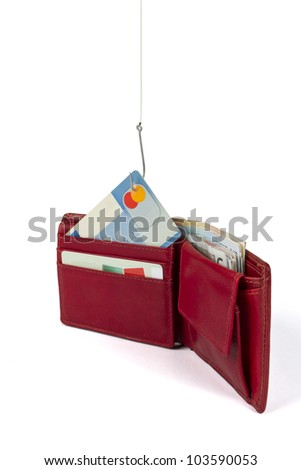 stealing credit card out of wallet -  isolated on white background - stock photo