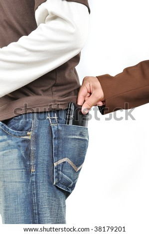 Stealing from back pocket - stock photo