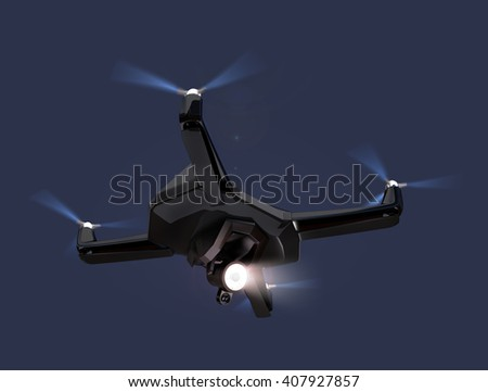 Stealth drone equip with search light flying in the night sky. 3D rendering image. - stock photo