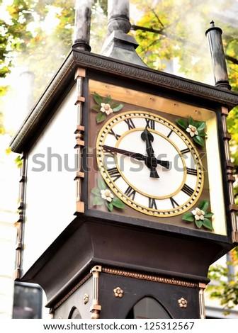Steam clock close up - stock photo