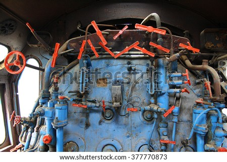 steam engine in old locomotive - stock photo