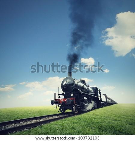 steam engine train crosses a green lawn - stock photo