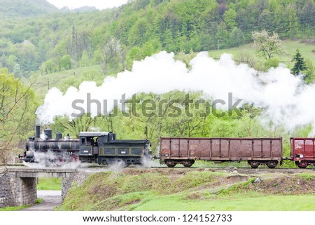 steam freight train (126.014), Resavica, Serbia - stock photo
