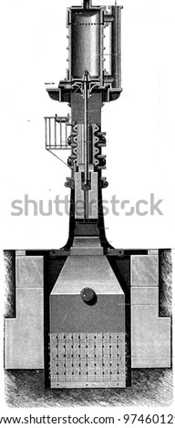 """steam-hammer in section - an illustration to the Article """"Power hammer"""" of the encyclopedia publishers Education, St. Petersburg, Russian Empire, 1896 - stock photo"""