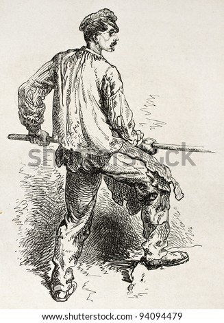 Steam hammer worker in Le Creusot foundry. Created by Neuville after Bonhomme, published on Le Tour du Monde, Paris, 1867 - stock photo