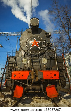 Steam Locomotive at Riga station in Moscow - stock photo