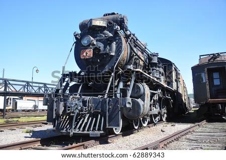 Steam locomotive in Steamtown National Historic Site in Scranton, Pennsylvania - stock photo