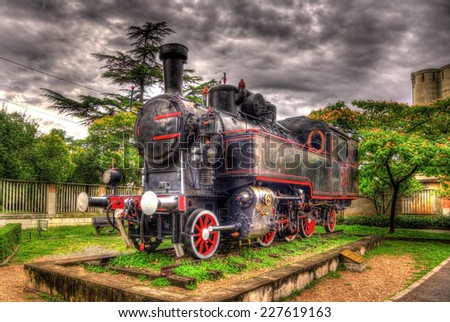 Steam locomotive - monument in Rijeka, Croatia - stock photo