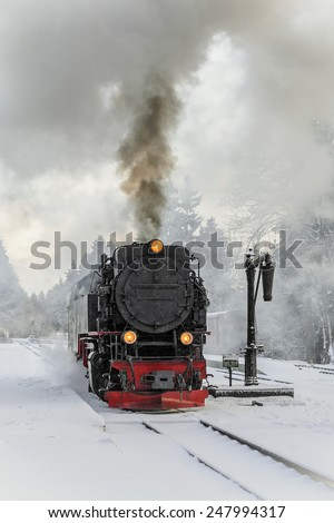 Steam locomotive ready to go to the Brocken in winter, Germany - stock photo