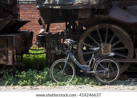 Steam locomotive wheel in retro style - stock photo