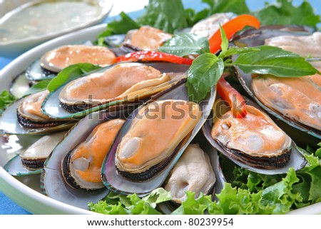 Steam Mussels - stock photo