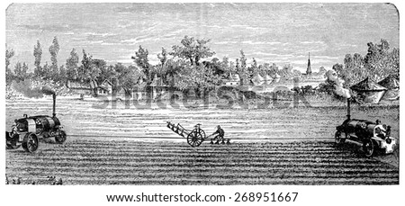 Steam Ploughing, vintage engraved illustration. Industrial encyclopedia E.-O. Lami - 1875.  - stock photo