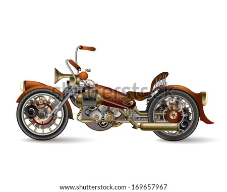 Steam-punk bike - stock photo