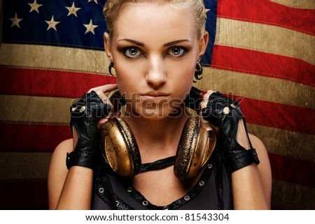 Steam punk girl against american flag. - stock photo