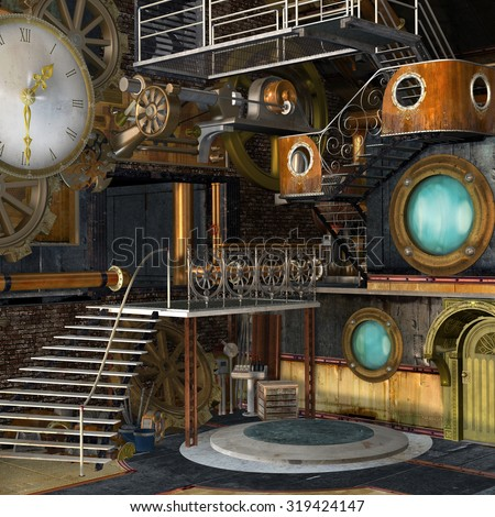 Steam punk industrial interior - stock photo