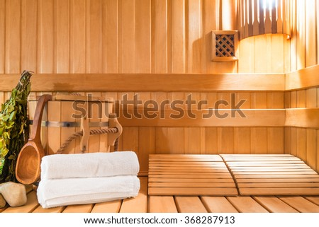 steam room made of natural wood and accessories - stock photo