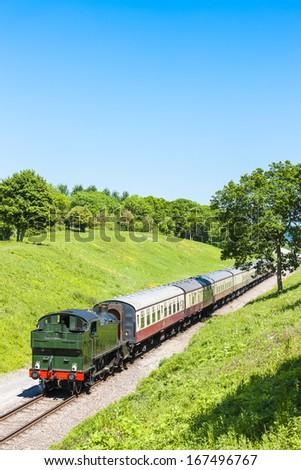 steam train, Gloucestershire Warwickshire Railway, Gloucestershire, England - stock photo