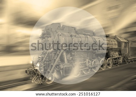 Steam train goes fast on the night station background. Vintage style image. Sample your text.  - stock photo