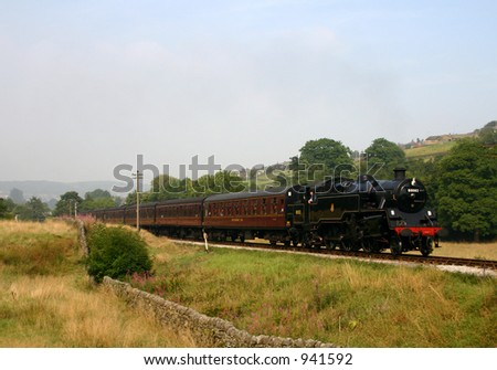 Steam Train in the heart of Bronte Country, West Yorkshire, England - stock photo