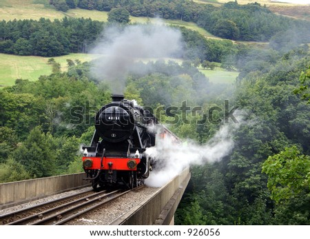Steam train in the Hope Valley, Peak District National Park, Derbyshire,  England - stock photo