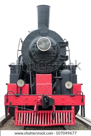 Steam train on a white. - stock photo
