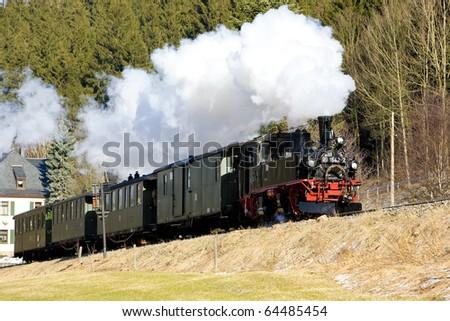 steam train, Steinbach - Johstadt, Germany - stock photo